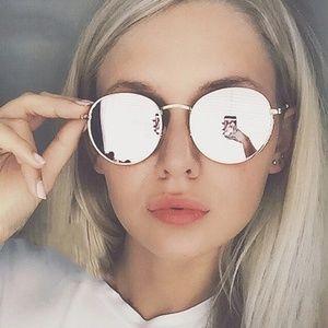 Accessories - New Round Silver Mirrored Metal Sunglasses